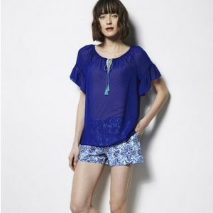 Milly for Design Nation Blue Flowy Blouse